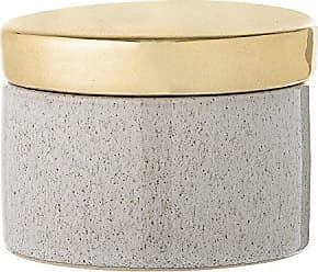 Bloomingville Stoneware Box with Gold Lid, White