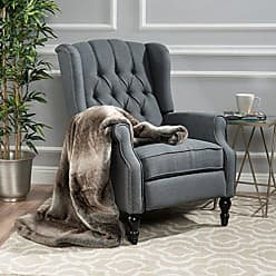 GDF Studio Christopher Knight Home 299603 Elizabeth Tufted Accent Chair in Charcoal Gray, Single Recliner Armchair, Elegant and Comfortable