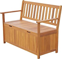 Overstock Outsunny 47 Wooden Outdoor Storage Bench with Removable Waterproof Lining