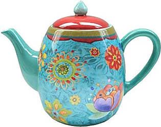 Certified International Tea Pot Ceramic Blue, Tunisian Sunset Collection, 40 Ounces