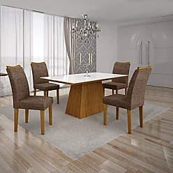 Leifer Conjunto Sala de Jantar Mesa Tampo MDF/Vidro Branco 4 Cadeiras Pampulha Leifer Imbuia Mel/Linho Marrom