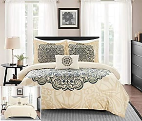 Chic Home Mindy 4 Piece Reversible Duvet Cover Set Large Scale Boho Inspired Medallion Paisley Print Design Bedding-Decorative Pillow Shams Included, King, Beige