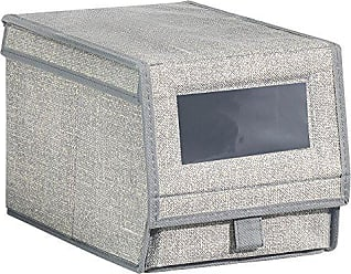 InterDesign Aldo Fabric Shoe Box with Clear Window and Pull Tab Closure for Closet Storage - Small, Gray