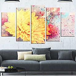 DESIGN ART Designart Aster Watercolor Splashes-Flower Glossy Metal Wall Art 60x32-5 Panels Diamond Shape Yellow