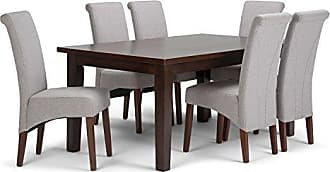 Simpli Home Simpli Home AXCDS7-AVL-CLG Avalon Contemporary 7 Pc Dining Set with 6 Upholstered Dining Chairs and 66 inch Wide Table