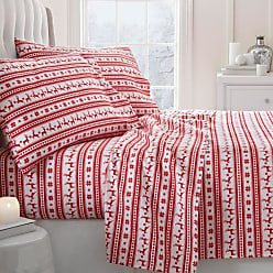 Noble Linens 800 Thread Count Premium Reindeer Flannel Sheet Set by Noble Linens, Size: Twin - NL-4PC-FRE-TWIN-RED
