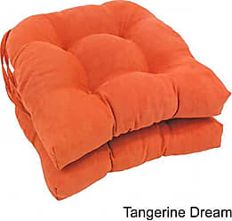 Blazing Needles Solid Microsuede U-Shaped Tufted Chair Cushions (Set of 2), 16, Tangerine Dream