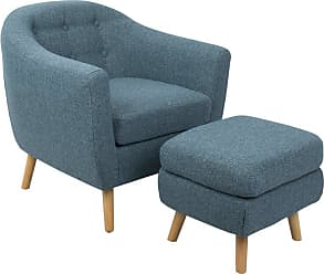 LumiSource Rockwell Mid-Century Modern Accent Chair with Ottoman Blue - C2-AZ-RKWL BU