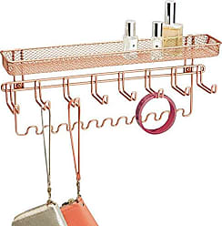 InterDesign Classico Wall Mount Metal Fashion Jewelry Organizer with Storage Hooks for Rings, Earrings, Bracelets, Necklaces, 15 x 6.25 x 2.75, Rose Gold