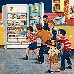 Marmont Hill Vintage-Americana Refrigerator Raid Canvas Wall Art, 24 by 24