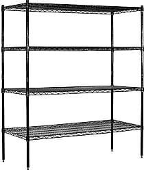 Salsbury Industries Stationary Wire Shelving Unit, 60-Inch Wide by 63-Inch High by 18-Inch Deep, Black
