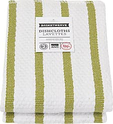 Now Designs Basketweave Kitchen Dishcloth, Set of Two, Cactus Green