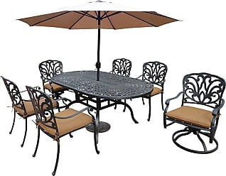 Oakland Living Outdoor Oakland Living Hampton Aluminum 9 Piece Patio Dining Set Brown - 7214T-7201C4-7202S2-D54-4005CPBK423615AB