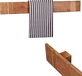 WOHNLING Handtuchhalter Massivholz Akazie 110 Cm Wand Regal Landhaus Stil  Bad Zubehör Badezimmer