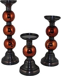 Essential Decor Entrada Collection 3-Piece Pillar Metal Candle Holder, 15 by 4.35-Inch