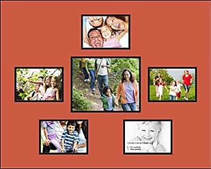 Art to Frames Double-Multimat-771-693/89-FRBW26079 Collage Photo Frame Double Mat with 1-8x10 and 5-5x7 Openings and Satin Black Frame