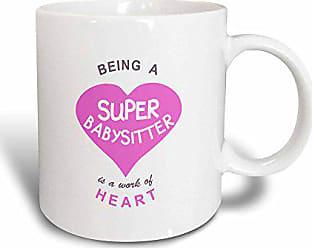 3D Rose Mug Being a Super Babysitter is a work of Heart - pink - babysitting quote (mug_183853_3) - 11oz - Transforming, Black/White