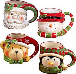 Certified International Santa, Snowman, Penguin & Bear 3D Figural Mugs (Set of 4), Multicolor