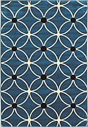 Linon Linon Claremont Collection Cylinder Black Synthetic Rugs, 8x102, Blue