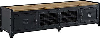 ModWay Modway Dungeon Industrial Pine Wood and Steel TV Stand In Black