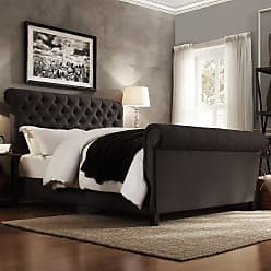 Weston Home Ellesmere Tufted Upholstered Sleigh Bed Beige Linen, Size: Queen - E208BQ-1BL(3A)[BED]