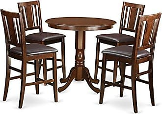 East West Furniture JABU5-MAH-LC 5 Piece Pub Table and 4 Counter Height Chairs Set