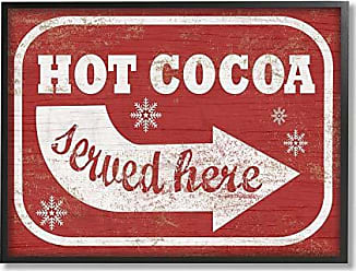 Stupell Industries The Stupell Home Décor Collection Holiday Rustic Distressed White and Red Vintage Sign Hot Cocoa Served Here Framed Giclee Texturized Art, 16 x 20, Multi-Color