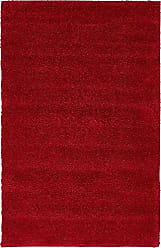 Unique Loom Solo Collection Plush Casual Red Area Rug (3 x 5)