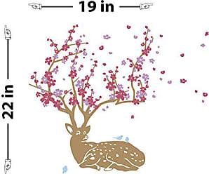 The Decal Guru Cherry Blossom Deer Wall Decal (Silver & Burgundy, 22 (H) X 19 (W))