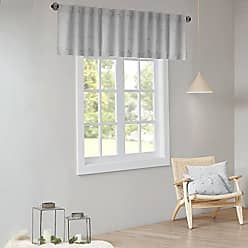 Urban Habitat Brooklyn Pom Darkening 100% Cotton Jacquard Window Valances Blackour Short Drapes for Living Room Bedroom and Dorm, 50 x 18, Grey