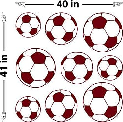 The Decal Guru Soccer Balls Wall Decal (Burgundy, 41 (H) X 40 (W))