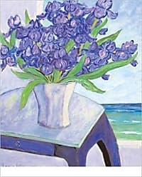 Buyartforless Buyartforless Purple Flowers on Table by Loughlin 24x30 Art Print Poster Floral Still Life Coastal Purple Flowers in White Vase