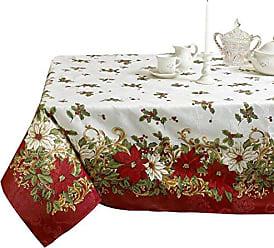 Violet Linen Decorative European Blossom Christmas Tablecloth, Poinsettia & Holly Berry Print - 60 x 84