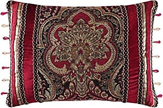 Five Queens Court Remington Woven Chenille Damask Boudoir Luxury Throw Pillow, Red and Gold