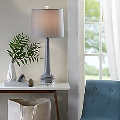 Urban Habitat Harmony Ceramic Lamp, Transitional Grey Glass Lamps for Bedrooms, 13L X 13W X 31.5H, Grey