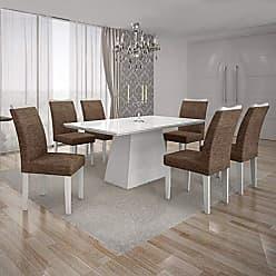 Leifer Conjunto Sala de Jantar Mesa Tampo MDF/Vidro Branco 6 Cadeiras Pampulha Leifer Branco/Linho Marrom