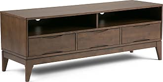Simpli Home Harper Solid Hardwood TV Media Stand in Walnut Brown