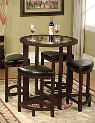 Round Hill Furniture Cylina Solid Wood Glass Top Round Counter Height Table with 4 Stools
