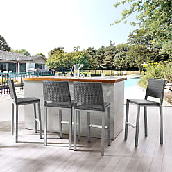Havenside Home Plymouth Patio Aluminum 30-inch Outdoor Wicker Bar Stools (Set of 4) (Grey)