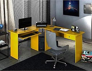 Zanzini Móveis Mesa para Escritório em L 1 Gaveta Max Zanzini Amarelo