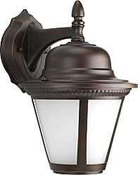 PROGRESS Westport Antique Bronze 1-Lt. Wall Lantern (9) w/AC LED Module Etched Seeded glass shade