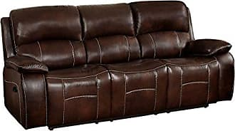 Homelegance Mahala Double Recliner Sofa Top Grain Leather Match Vinyl, Brown