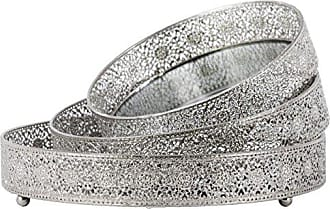 Urban Trends Collection Urban Trends 2.5 Round Tray with Mirror Surface and Elevated Pierced Metal Sides Set of Three Polished Chrome Finish Silver