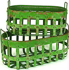 Creative Co-op Green Metal Baskets with Handles (Set of 2 Sizes)