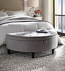 Iconic Home FON9170-AN Jacqueline Half Moon Storage Ottoman Button Tufted Velvet Upholstered Gold Nailhead Trim Espresso Finished Wood Legs Bench Modern Transitional Dark Grey