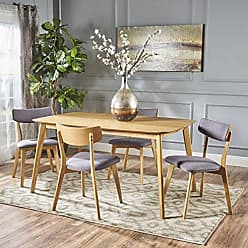 GDF Studio Christopher Knight Home 301323 Antonio Mid Century Natural Oak Finished 5 PC Dining Set (Dark Grey)
