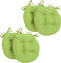 Blazing Needles Solid Twill Round Tufted Chair Cushions (Set of 4), 16, Mojito Lime