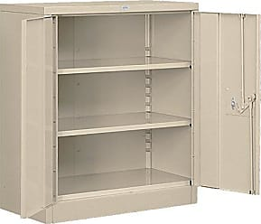 Salsbury Industries Heavy Duty Assembled Counter Height Storage Cabinet, 42-Inch High by 18-Inch Deep, Tan