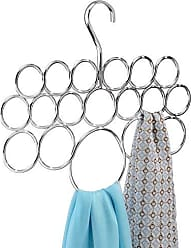InterDesign Axis Metal Loop Scarf Hanger, No Snag Closet Organization Storage Holder for Scarves, Mens Ties, Womens Shawls, Pashminas, Belts, Accessories, Clothes, 18 Compartments, Chrome