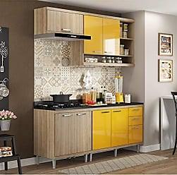 Multimóveis Cozinha Completa com Balcão com Tampo 5 Peças 7 Portas Sicília Multimóveis Argila/Amarelo